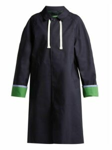 La Fetiche - Siouxie Reversible Vulcanised Rubber Trench Coat - Womens - Navy Multi