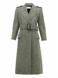 Saint Laurent - Notched Lapels Virgin-wool Herringbone Coat - Womens - Grey White