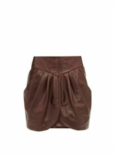 Isabel Marant - Fionali Leather Mini Wrap Skirt - Womens - Burgundy