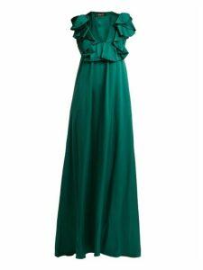 Rochas - Ruffled Duchess Silk Satin Gown - Womens - Dark Green