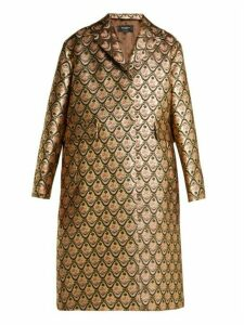 Rochas - Single Breasted Floral Brocade Coat - Womens - Gold Multi