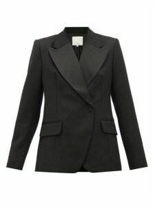 Tibi - Peaked Lapel Single Breasted Wool Blazer - Womens - Black