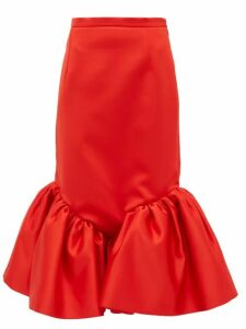 Christopher Kane - Cupcake Ruffled Hem Silk Satin Skirt - Womens - Red