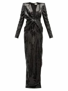 Saint Laurent - Bow Plunge Neck Sequinned Gown - Womens - Black