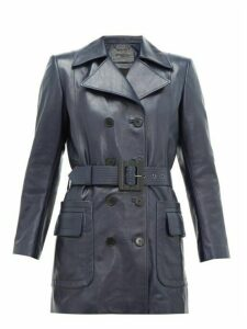 Givenchy - Double Breasted Belted Leather Coat - Womens - Navy