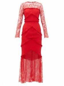 Emilio De La Morena - Lace Panel Sheer Hem Gown - Womens - Red