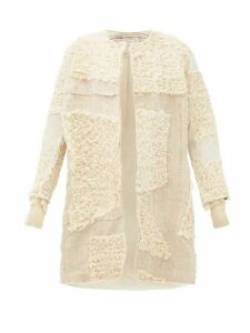 By Walid - Mira Single Breasted Arran Wool And Linen Coat - Womens - Beige