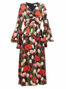 Borgo De Nor - Serafina Tulip Print Silk Cloqué Midi Dress - Womens - Black Multi