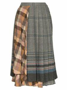 Rentrayage check panelled midi skirt - Grey