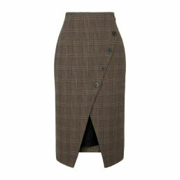 Cefinn Selby Checked Cotton-blend Midi Skirt