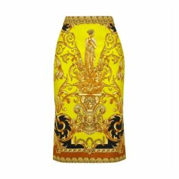 Versace Baroque-print Stretch-jersey Pencil Skirt