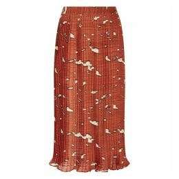Traffic People Falls Pleated Midi Skirt In Rust Red