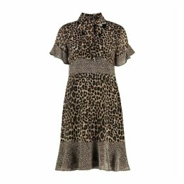 MICHAEL Michael Kors Mixed Leopard-print Georgette Tie-neck Dress