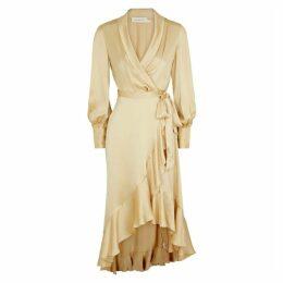 Zimmermann Super Eight Champagne Silk-satin Wrap Dress