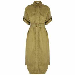 Zimmermann Super Eight Olive Belted Linen Shirt Dress