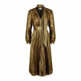 Equipment Macin Gold Pleated Lamé Midi Dress