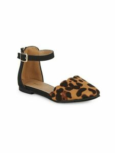 Kid's Leopard-Print d'Orsay Ankle-Strap Flats