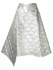 Juun.J diamond panelled asymmetric skirt - Silver
