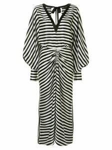 Lee Mathews striped long-sleeve dress - Black