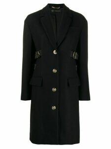 Versace buckle embellished single-breasted coat - Black