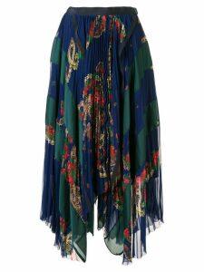 Sacai pleated paisley print skirt - Blue