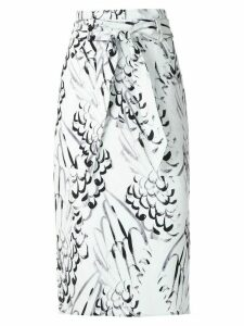 Andrea Marques printed clochard skirt - White