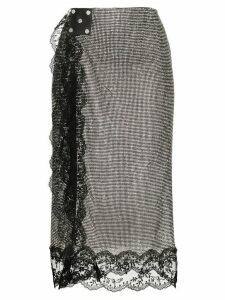 Christopher Kane lace-trimmed chainmail skirt - Metallic