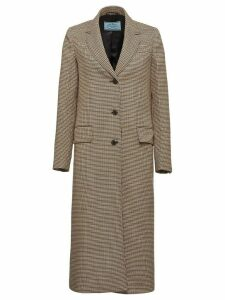 Prada houndstooth check long coat - Brown