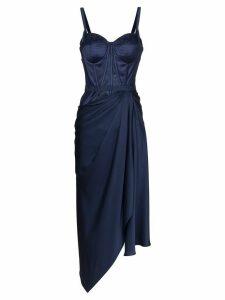 Alexander McQueen draped bustier asymmetric dress - Blue