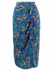 Saloni Berry Leaf-print silk skirt - Blue