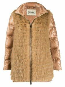 Herno fur panel padded coat - Neutrals