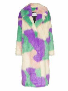 STAND STUDIO Clara faux fur camouflage coat - PURPLE