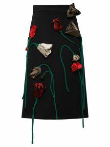 Prada Natté floral-appliqué gabardine skirt - Black