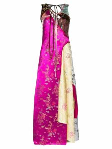 Rave Review Rose panelled oriential-inspired maxi dress - PINK