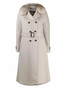 Moorer fur-trim coat - NEUTRALS