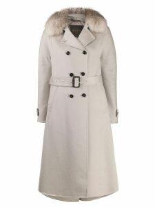 Moorer fur-trim coat - Neutrals