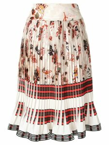 Tory Burch floral-print pleated skirt - White