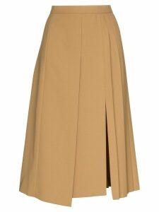 Joseph pleated wrap-around midi skirt - Brown