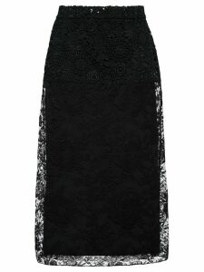 Prada floral lace midi skirt - Black