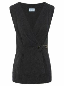 Prada safety pin knitted top - Grey