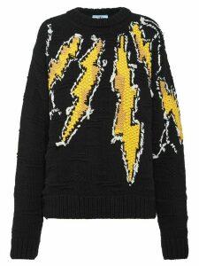 Prada Thunderbolt intarsia jumper - Black
