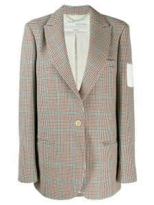 Off-White check print blazer - Brown