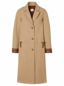 Burberry leather-trimmed coat - NEUTRALS