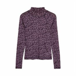 Nanushka Madi Purple Printed Stretch-knit Top