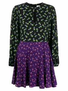 be blumarine floral print panelled dress - Black