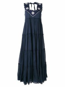Innika Choo RAMIE BIG FRILL LONG DRESS - Blue