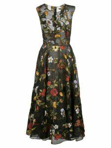 Oscar de la Renta sheer floral embroidered dress - Black