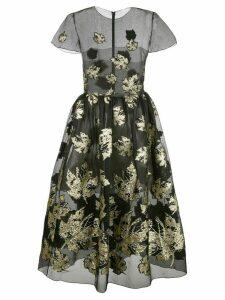 Oscar de la Renta sheer leaf print dress - Black