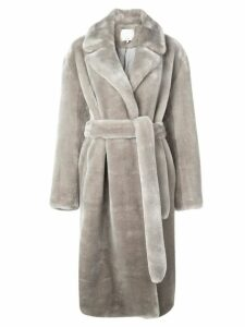 Tibi Luxe faux fur trench coat - Grey