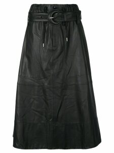Proenza Schouler White Label Leather Belted Skirt - Black